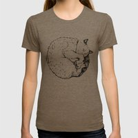 Sleepy Kitty Womens Fitted Tee Tri-Coffee SMALL