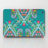 Folk Turquoise Damask iPad Case