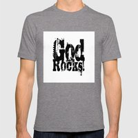 God Rocks In Distressed … Mens Fitted Tee Tri-Grey SMALL