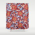 Coral Summer - a hand drawn floral pattern Shower Curtain