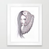 Alone With The Owl Framed Art Print