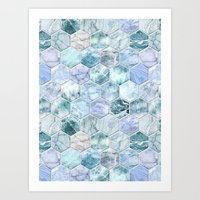 Ice Blue and Jade Stone and Marble Hexagon Tiles Art Print