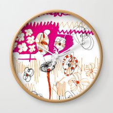 magenta and orange Wall Clock