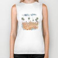 Los Angeles skyline vintage map Biker Tank