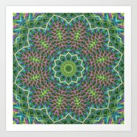 Fern Frond Lace Kaleidos… Art Print