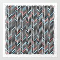 Herringbone Black and Blue #2 Art Print