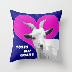 Totes Ma Goats - Blue Pink Throw Pillow