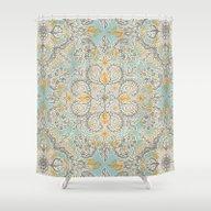 Gypsy Floral In Soft Neu… Shower Curtain