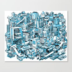 City Machine - Blue Canvas Print