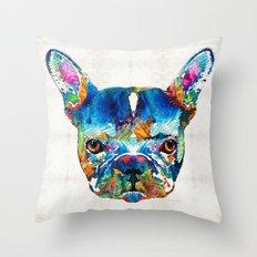 Colorful French Bulldog Dog Art By Sharon Cummings Throw Pillow