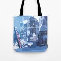 Winter Buildings Tote Bag