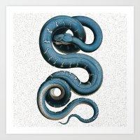 Blue White Vintage Snake… Art Print