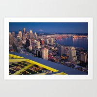 Seattle In The Evening, … Art Print