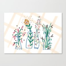 Flowers. Vase, illustration, art, print, pattern, nature, floral, still life, Canvas Print