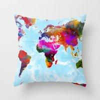 Watercolor World Map 5 Throw Pillow