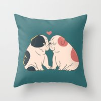 English Bulldog Kisses Throw Pillow