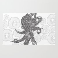 Octopus Bloom Black And … Rug