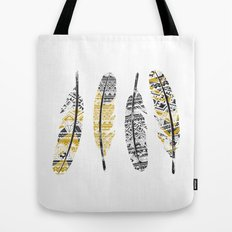 Mustard Feathers Tote Bag