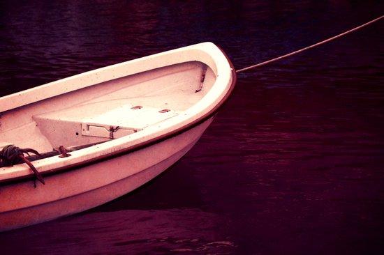 white boat Art Print