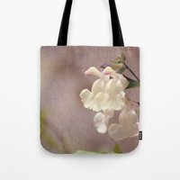 White flower and texture Tote Bag