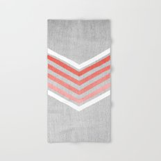 Coral Gradient Chevron on Silver Grey Wood Hand & Bath Towel