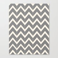 Gray & Ivory Chevron Canvas Print
