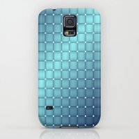 Galaxy S5 Cases featuring Blue Metallic Tiles by Lena Photo Art