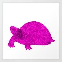 Turtle Illustration Pink Art Print