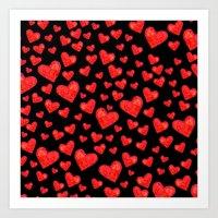 Hearts Motif Black Art Print