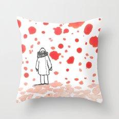 Red sky in winter, shepherds for dinner Throw Pillow