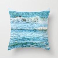 Enjoying the surf in summer Throw Pillow