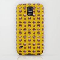 iPhone Cases featuring Red Lip Pattern on Yellow Background by Jorge Luis Mendez
