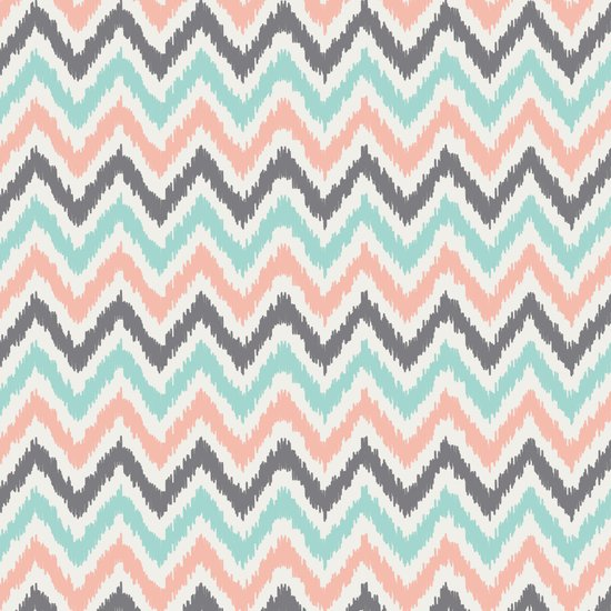 Mint Gray Coral Zigzag Pattern Art Print