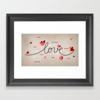 Love, Butterfly Hearts & Text Unique Valentine Framed Art Print