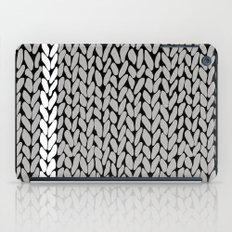 Grey Knit With White Stripe iPad Case