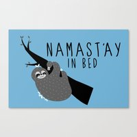 Namast'ay In Bed Sloth Canvas Print