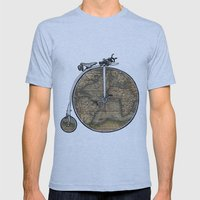 Penny Farthing Map Mens Fitted Tee Athletic Blue SMALL