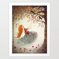 Swinging Girl Art Print