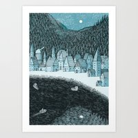 'Mountain Town' Art Print