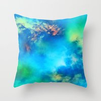 Cosmic Clouds In Blue Throw Pillow