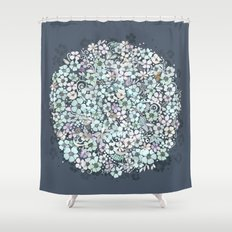 Flower Circle, mist blue Shower Curtain