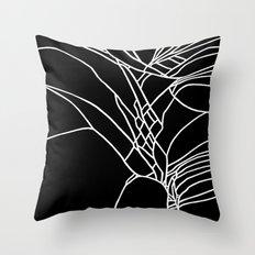 Cracked White on Black Throw Pillow