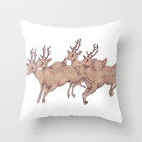 Leap my Deer Throw Pillow