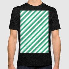 Diagonal Stripes (Mint/White) Mens Fitted Tee Tri-Black SMALL