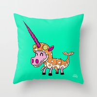 Unicorn in Narwhal Costume! Throw Pillow