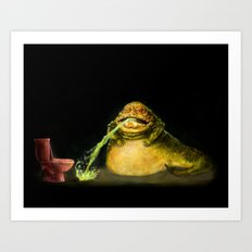 Star Wars Jabba the Hutt Barfed his Guts all the way down to Pizza Hut  Art Print