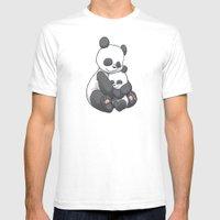Panda Hug Mens Fitted Tee White SMALL