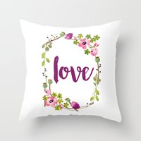 Floral Wreath Watercolor - Love - by Sarah Jane Design Throw Pillow