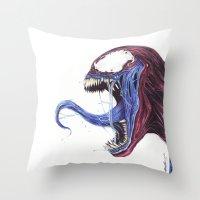 Venom Turned Spider Man Throw Pillow