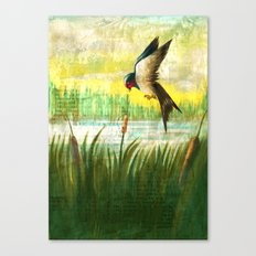 The Swallow and the Reed Canvas Print